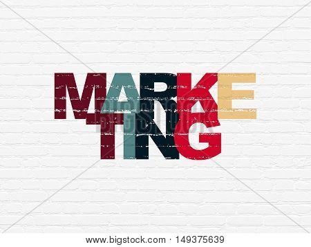 Marketing concept: Painted multicolor text Marketing on White Brick wall background