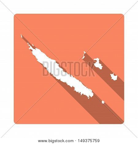 Vector New Caledonia Map Button. Long Shadow Style New Caledonia Map Square Icon Isolated On White B