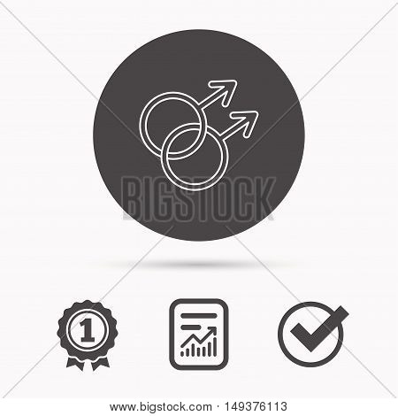 Gay couple icon. Homosexual sign. Report document, winner award and tick. Round circle button with icon. Vector