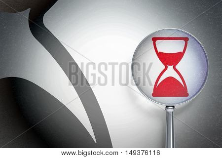 Timeline concept: magnifying optical glass with Hourglass icon on digital background, empty copyspace for card, text, advertising, 3D rendering