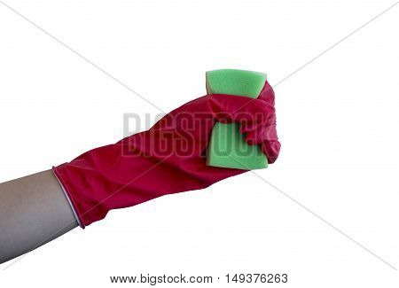 Hand in red glove with sponge isolated on white background