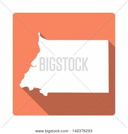 Vector Equatorial Guinea Map Button. Long Shadow Style Equatorial Guinea Map Square Icon Isolated On