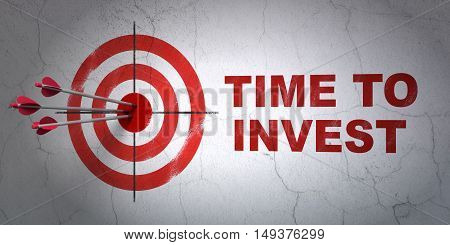 Success timeline concept: arrows hitting the center of target, Red Time To Invest on wall background, 3D rendering
