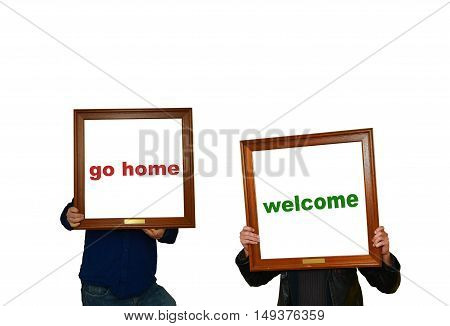 Two men with picture frame with inscriptions