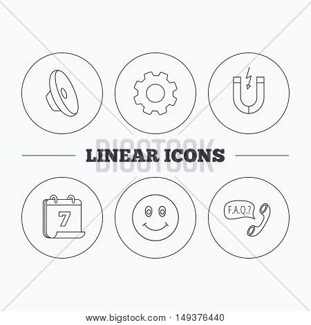 Magnet, smiling face and faq speech bubble icons. Sound linear sign. Flat cogwheel and calendar symbols. Linear icons in circle buttons. Vector