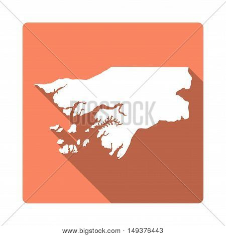 Vector Guinea-bissau Map Button. Long Shadow Style Guinea-bissau Map Square Icon Isolated On White B