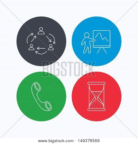 Teamwork, presentation and phone call icons. Hourglass linear sign. Linear icons on colored buttons. Flat web symbols. Vector