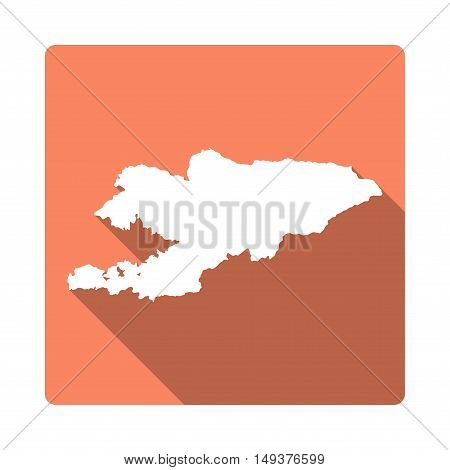Vector Kyrgyzstan Map Button. Long Shadow Style Kyrgyzstan Map Square Icon Isolated On White Backgro