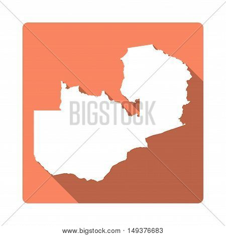 Vector Zambia Map Button. Long Shadow Style Zambia Map Square Icon Isolated On White Background. Fla