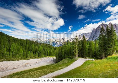 View To Alpine Brook, Dolomites Mountains, Italy, Europe