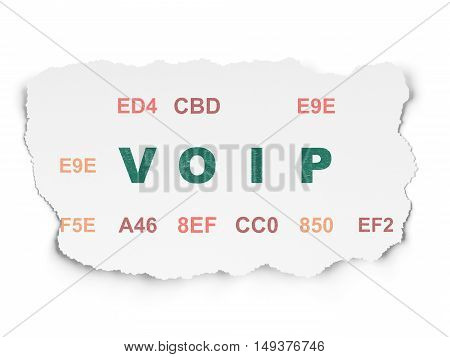 Web design concept: Painted green text VOIP on Torn Paper background with  Hexadecimal Code