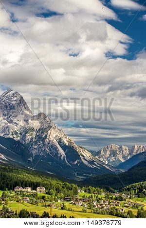 View To Cortina D'ampezzo And Dolomites Mountains, Italy Europe