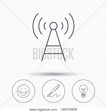 Pen, telecommunication and lightbulb icons. Smiling face linear sign. Linear icons in circle buttons. Flat web symbols. Vector