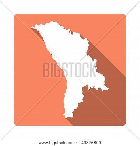 Vector Moldova, Republic Of Map Button. Long Shadow Style Moldova, Republic Of Map Square Icon Isola