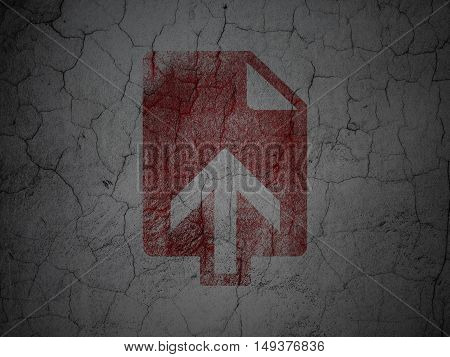 Web design concept: Red Upload on grunge textured concrete wall background