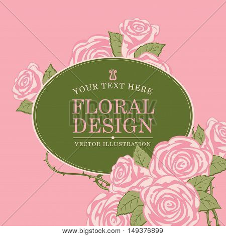 vector banner with floral designs with roses and place for an inscription