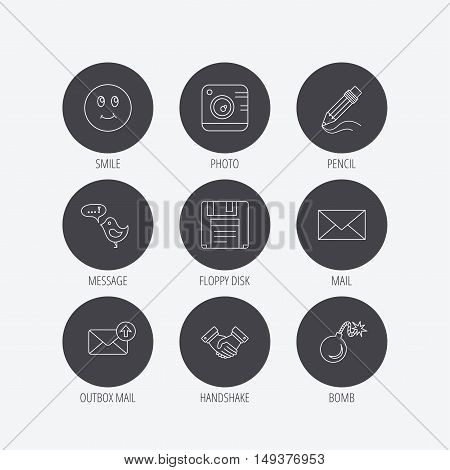 Photo camera, pencil and handshake icons. Inbox e-mail, message speech bubble and smile linear signs. Linear icons in circle buttons. Flat web symbols. Vector
