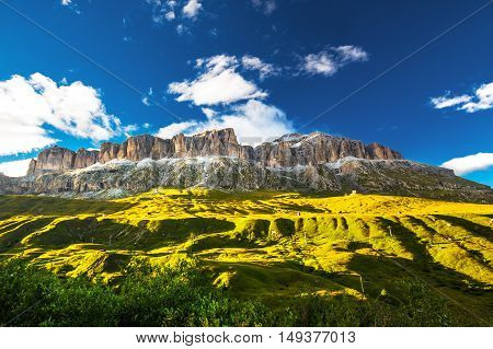 View to Sass Pordoi massive in Dolomites Italy Europe