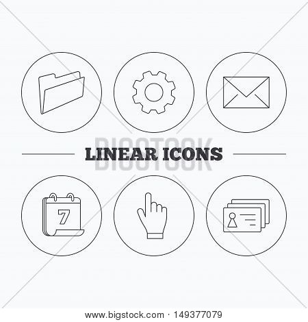 Folder, press hand and contacts icons. Mail linear sign. Flat cogwheel and calendar symbols. Linear icons in circle buttons. Vector