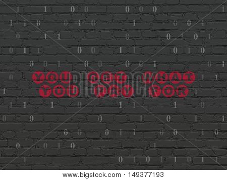 Finance concept: Painted red text You get what You pay for on Black Brick wall background with Binary Code