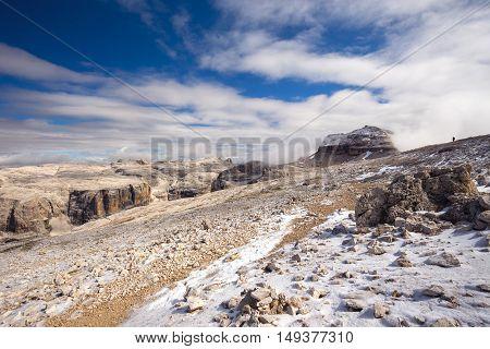 Sass Pordoi plateau with Piz Boe peak and Sella group mountains in Dolomites Italy Europe