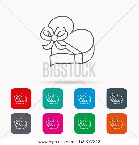 Love gift box icon. Heart with bow sign. Linear icons in squares on white background. Flat web symbols. Vector