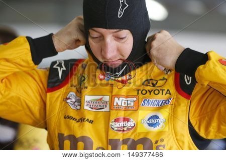 Loudon, NH - Sep 24, 2016: Kyle Busch (18) gets ready to practice for the Bad Boy Off Road 300 at the New Hampshire Motor Speedway in Loudon, NH.