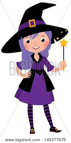 Girl in costume Halloween witch with a magic wand vector cartoon illustration