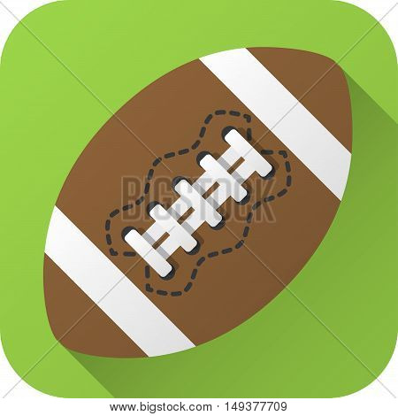 Vector illustration. Toy leather American football ball in flat design with long shadow. Square shape icon in simple design. Icon vector size 1024 corner radius 180