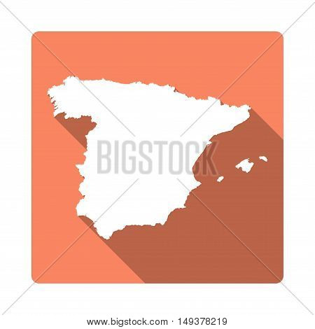 Vector Spain Map Button. Long Shadow Style Spain Map Square Icon Isolated On White Background. Flat