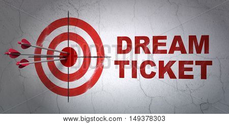 Success business concept: arrows hitting the center of target, Red Dream Ticket on wall background, 3D rendering