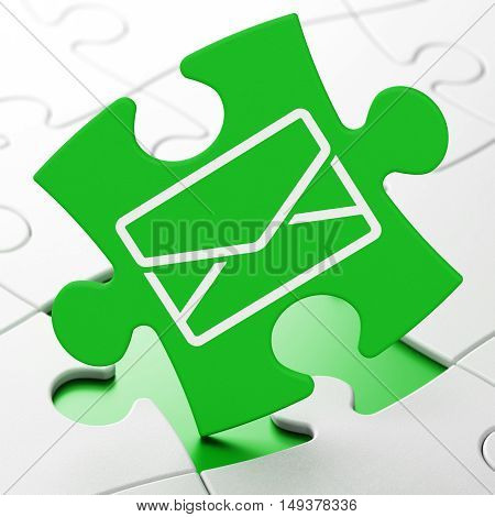 Business concept: Email on Green puzzle pieces background, 3D rendering