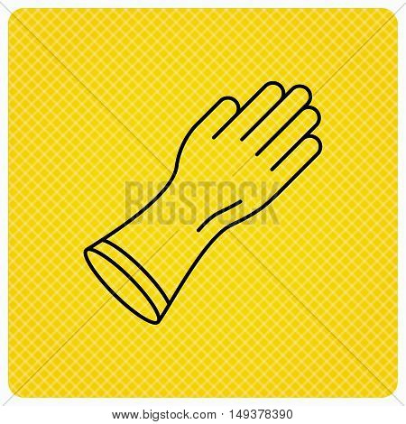 Rubber gloves icon. Latex hand protection sign. Housework cleaning equipment symbol. Linear icon on orange background. Vector