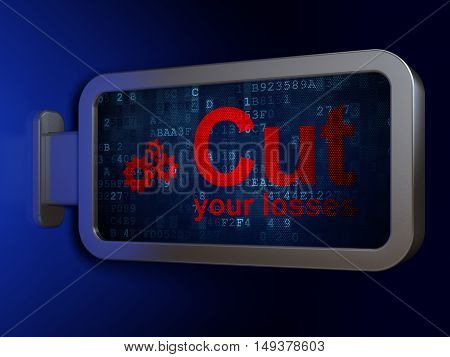 Business concept: Cut Your losses and Gears on advertising billboard background, 3D rendering