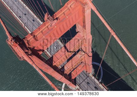 Aerial view above the Golden Gate Bridge and San Francisco Bay.
