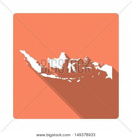 Vector Indonesia Map Button. Long Shadow Style Indonesia Map Square Icon Isolated On White Backgroun