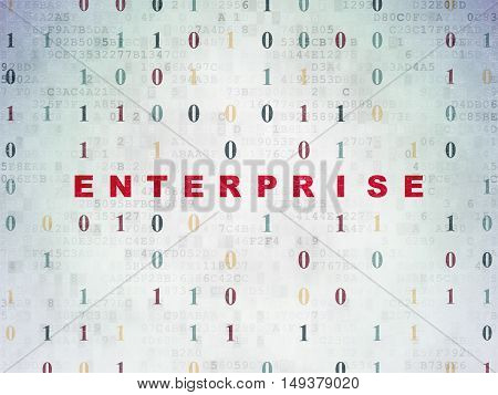 Business concept: Painted red text Enterprise on Digital Data Paper background with Binary Code