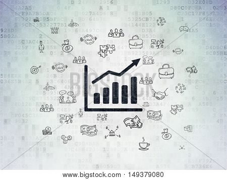 Finance concept: Painted black Growth Graph icon on Digital Data Paper background with  Hand Drawn Business Icons