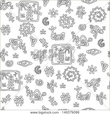 rock painting style pattern seamless texture for textile background antistress coloring books and wrapping paper.