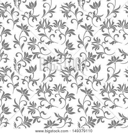 Elegant Seamless Pattern With Floral Tracery On A White Background For Decorations Of Wallpaper, Tex