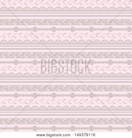 Gentle Pattern With Lace And Beads On A Pink Background