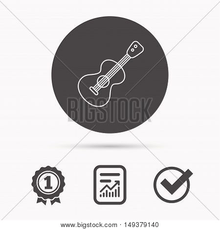 Guitar icon. Musical instrument sign. Band guitarist symbol. Report document, winner award and tick. Round circle button with icon. Vector
