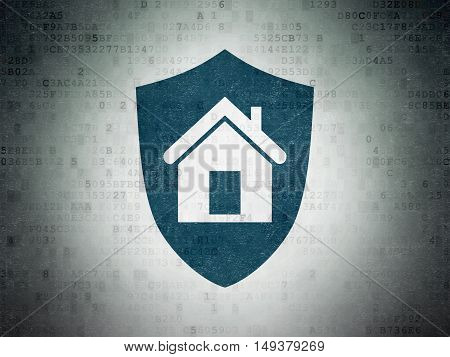 Business concept: Painted blue Shield icon on Digital Data Paper background