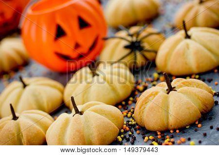 Halloween pumpkin cookies - funny and healthy sweet treats for kids