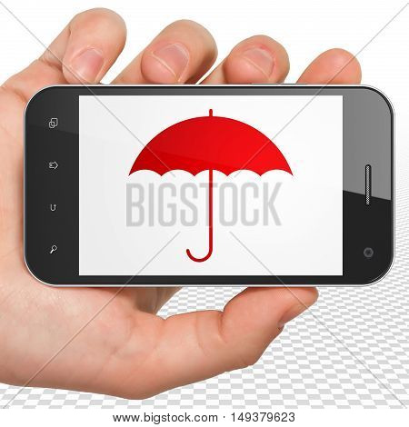 Protection concept: Hand Holding Smartphone with red Umbrella icon on display, 3D rendering