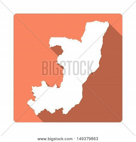 Vector Congo Map Button. Long Shadow Style Congo Map Square Icon Isolated On White Background. Flat