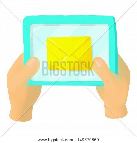 Hands holding a tablet with letter icon in cartoon style isolated on white background. Communication symbol vector illustration