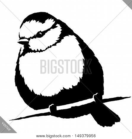 black and white linear paint draw tit bird vector illustration