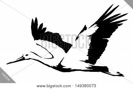 black and white linear paint draw crane bird vector illustration