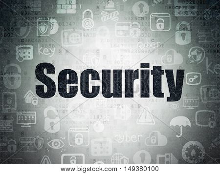 Protection concept: Painted black text Security on Digital Data Paper background with   Hand Drawn Security Icons